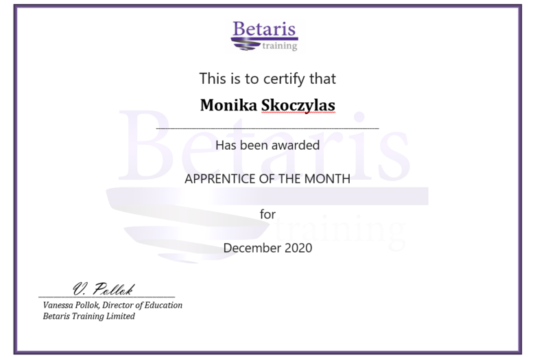 Betaris Apprentice of the month, Monika Skoczylas, University of Oxford