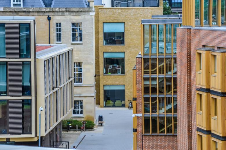Image taken of racliffe observatory quarter looking down on all the different buildings