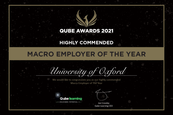 Qube Awards 2021, Oxford University Highly Commended Apprentice Macro employer of the year
