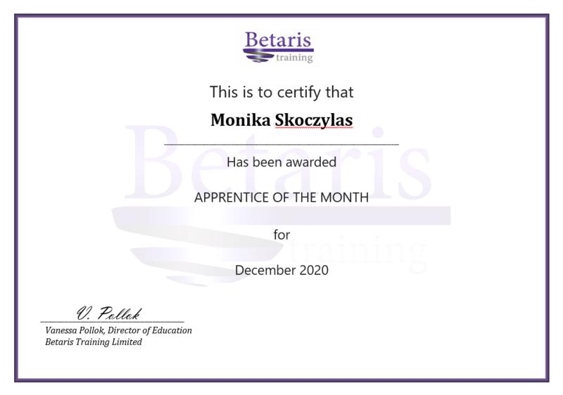 Betaris Apprentice of the month, Monika Skoczylas, University of Oxford