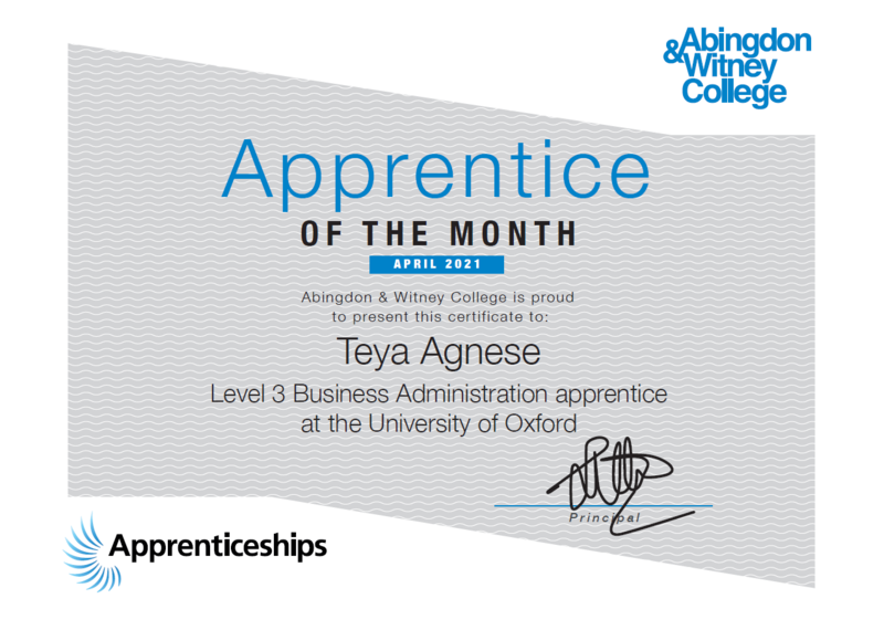 Apprentice of the month, Teya Agnese at University of Oxford with Abingdon & Witney college
