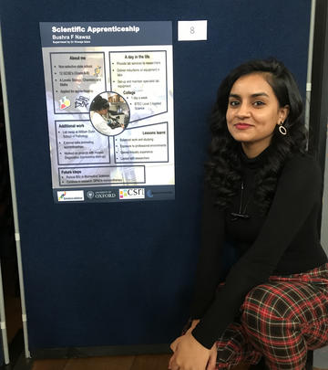 Bushra Nawaz displaying poster at University of Oxford Apprenticeship Awards 2020